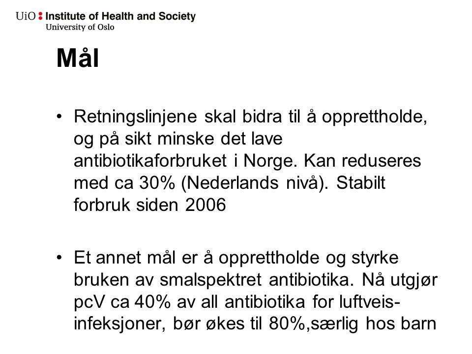 Mål Retningslinjene skal bidra til å opprettholde, og på sikt minske det lave antibiotikaforbruket i Norge. Kan reduseres med ca 30% (Nederlands nivå)