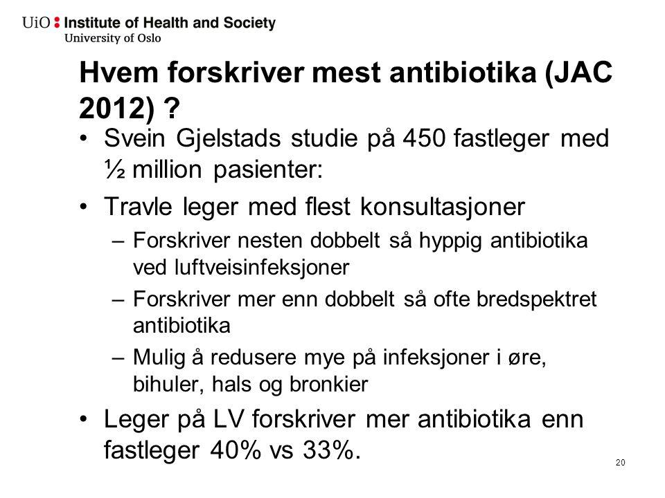 Hvem forskriver mest antibiotika (JAC 2012) ? Svein Gjelstads studie på 450 fastleger med ½ million pasienter: Travle leger med flest konsultasjoner –