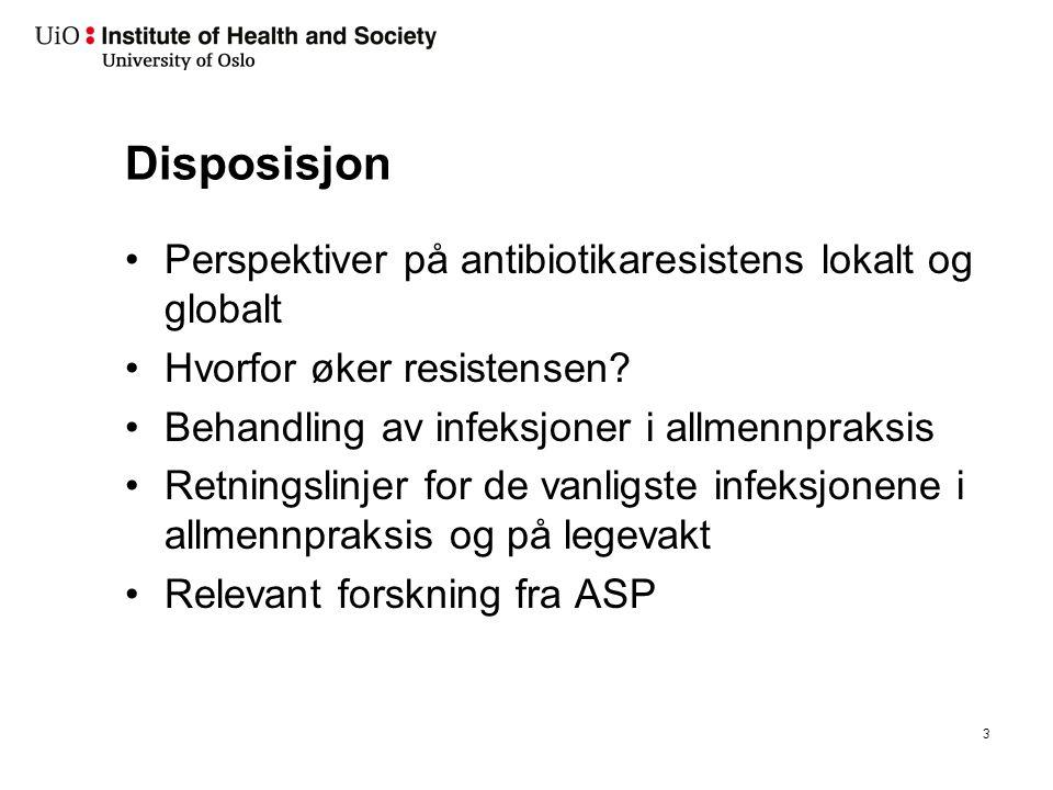 Disposisjon Perspektiver på antibiotikaresistens lokalt og globalt Hvorfor øker resistensen? Behandling av infeksjoner i allmennpraksis Retningslinjer