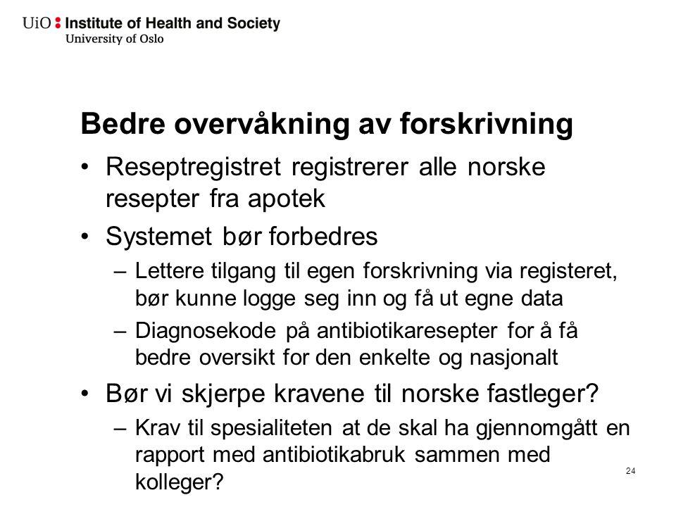 Bedre overvåkning av forskrivning Reseptregistret registrerer alle norske resepter fra apotek Systemet bør forbedres –Lettere tilgang til egen forskri