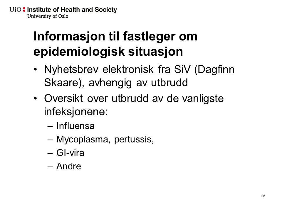 Informasjon til fastleger om epidemiologisk situasjon Nyhetsbrev elektronisk fra SiV (Dagfinn Skaare), avhengig av utbrudd Oversikt over utbrudd av de