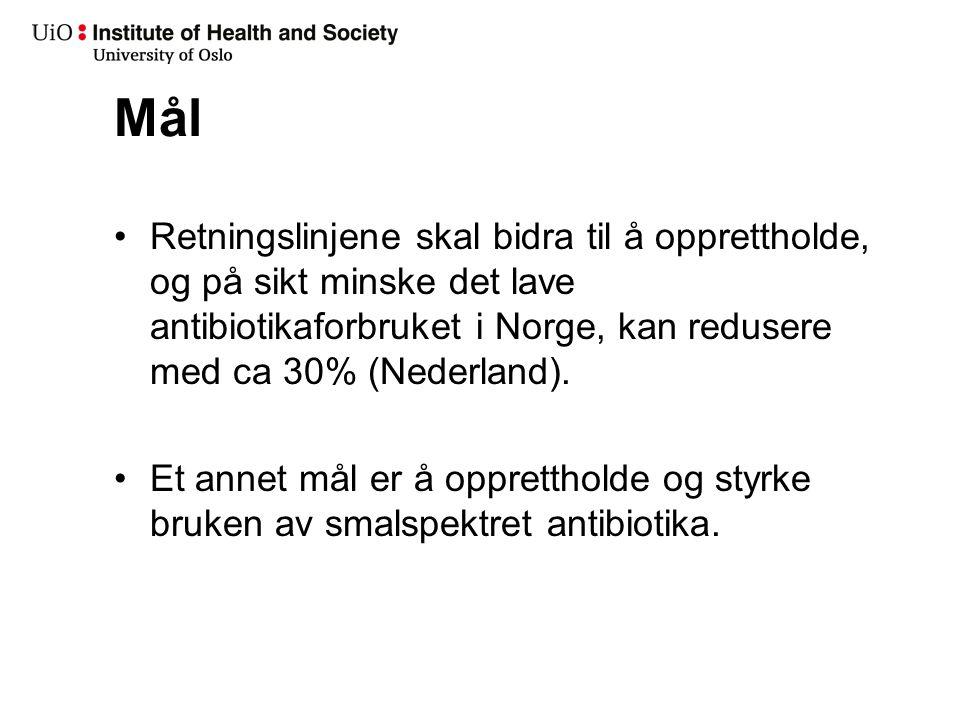 Mål Retningslinjene skal bidra til å opprettholde, og på sikt minske det lave antibiotikaforbruket i Norge, kan redusere med ca 30% (Nederland). Et an