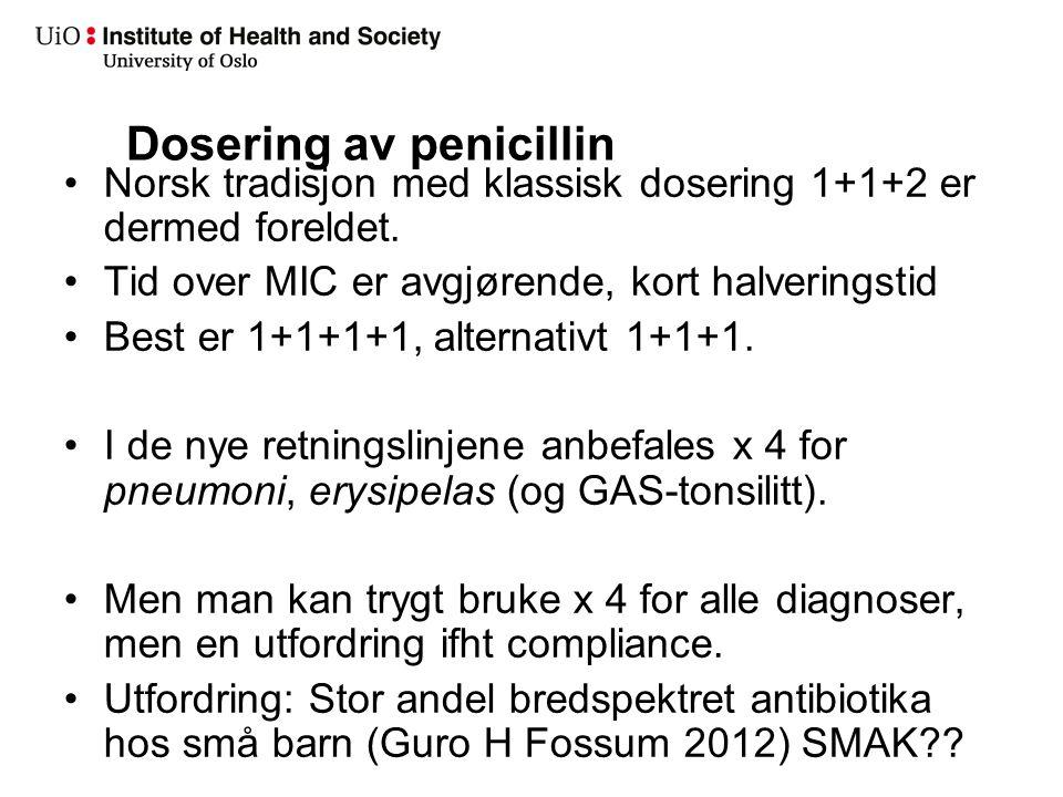 Dosering av penicillin Norsk tradisjon med klassisk dosering 1+1+2 er dermed foreldet. Tid over MIC er avgjørende, kort halveringstid Best er 1+1+1+1,