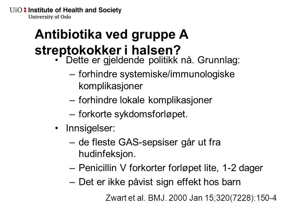 Antibiotika ved gruppe A streptokokker i halsen? Dette er gjeldende politikk nå. Grunnlag: –forhindre systemiske/immunologiske komplikasjoner –forhind