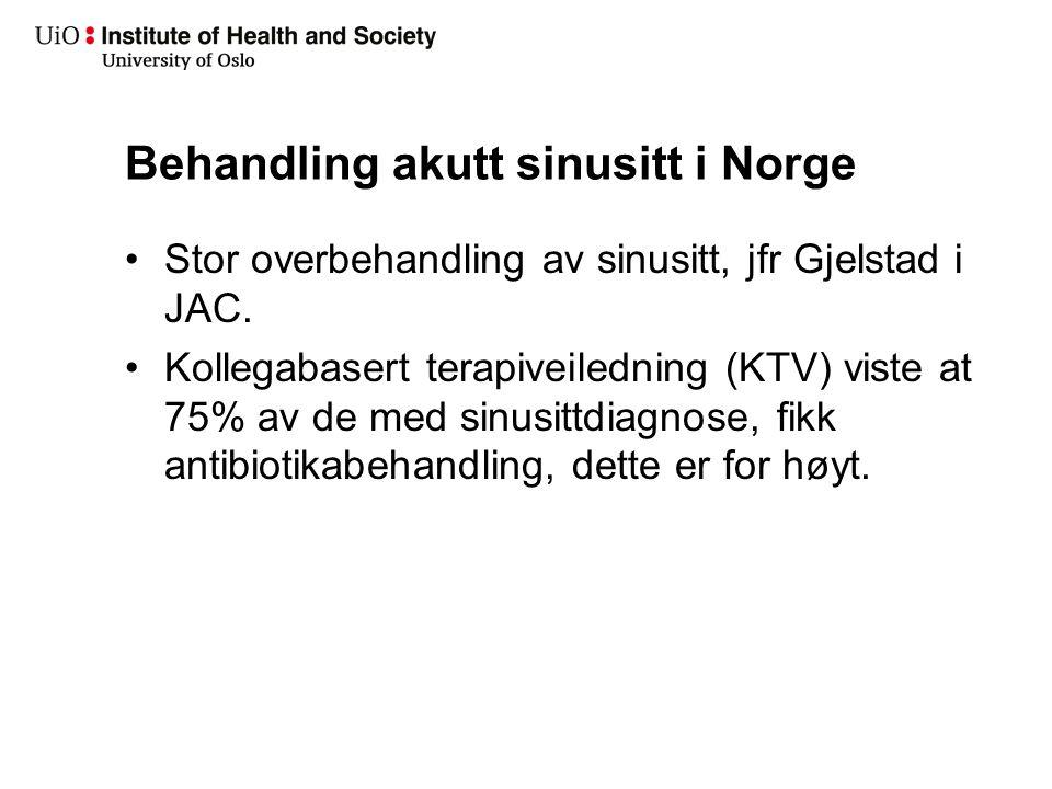 Behandling akutt sinusitt i Norge Stor overbehandling av sinusitt, jfr Gjelstad i JAC. Kollegabasert terapiveiledning (KTV) viste at 75% av de med sin
