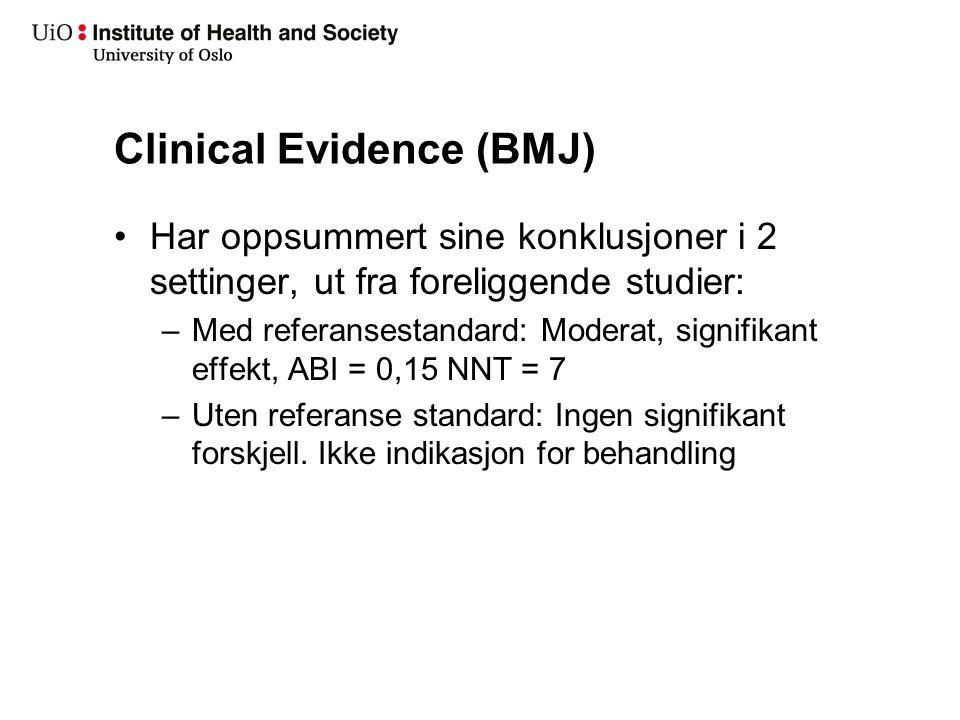 Clinical Evidence (BMJ) Har oppsummert sine konklusjoner i 2 settinger, ut fra foreliggende studier: –Med referansestandard: Moderat, signifikant effe