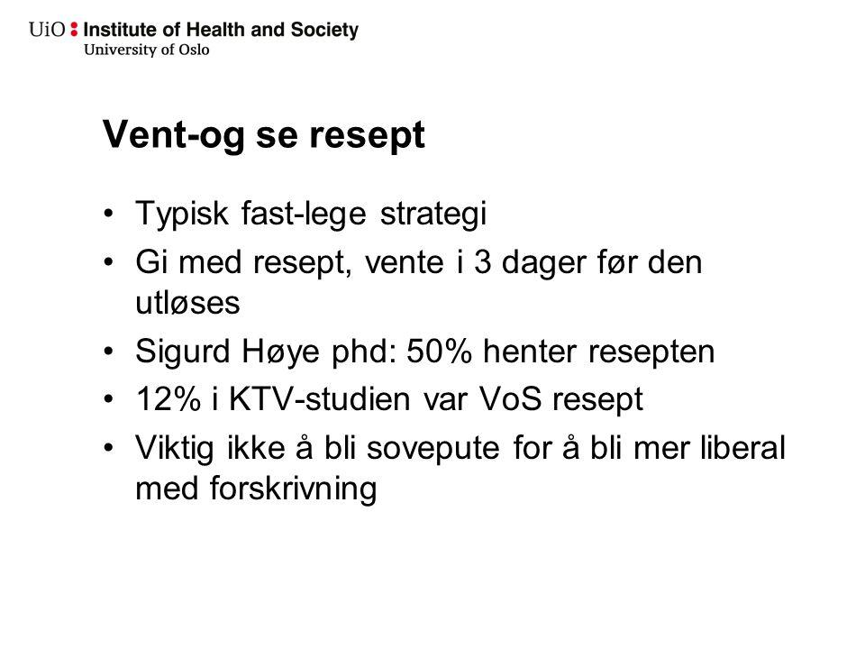 Vent-og se resept Typisk fast-lege strategi Gi med resept, vente i 3 dager før den utløses Sigurd Høye phd: 50% henter resepten 12% i KTV-studien var