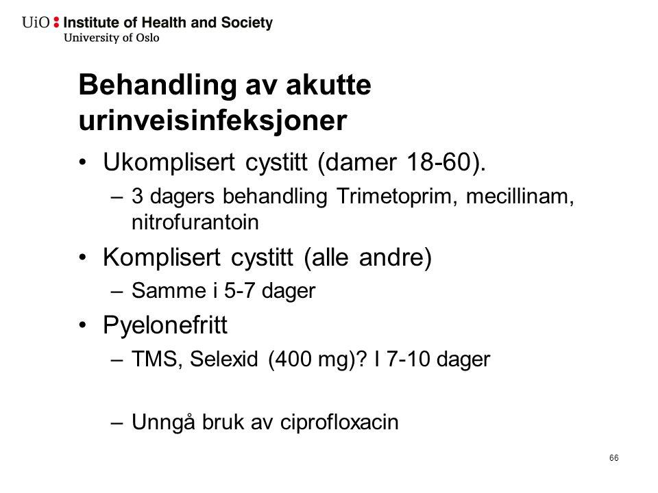 Behandling av akutte urinveisinfeksjoner Ukomplisert cystitt (damer 18-60). –3 dagers behandling Trimetoprim, mecillinam, nitrofurantoin Komplisert cy