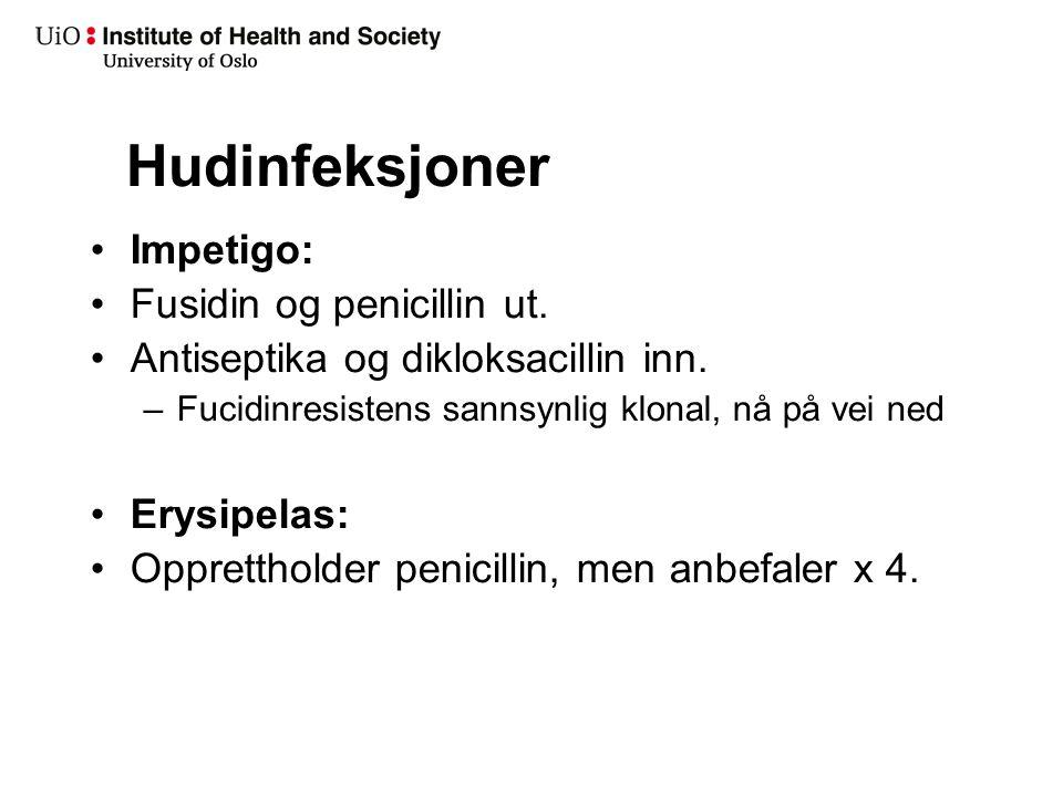 Hudinfeksjoner Impetigo: Fusidin og penicillin ut. Antiseptika og dikloksacillin inn. –Fucidinresistens sannsynlig klonal, nå på vei ned Erysipelas: O