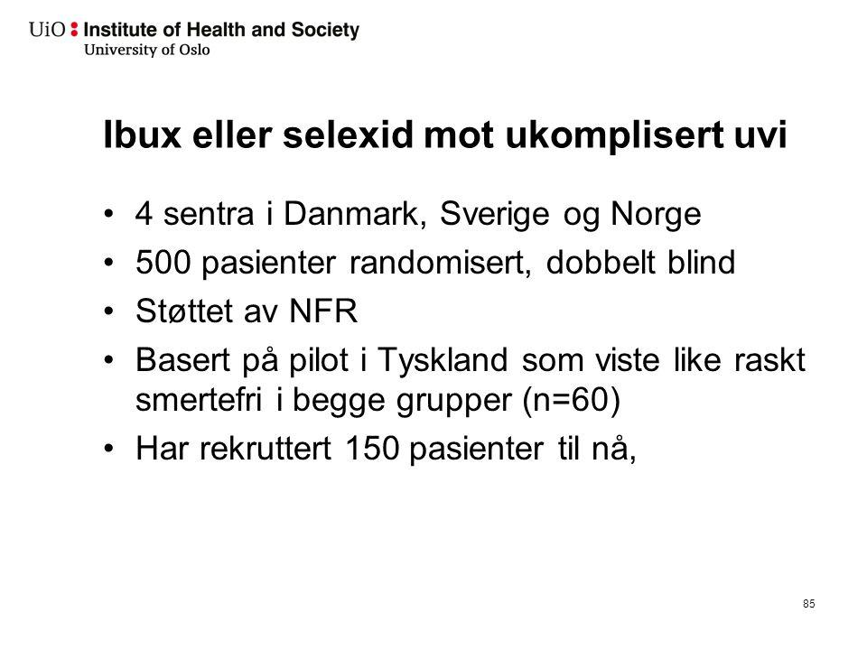 Ibux eller selexid mot ukomplisert uvi 4 sentra i Danmark, Sverige og Norge 500 pasienter randomisert, dobbelt blind Støttet av NFR Basert på pilot i