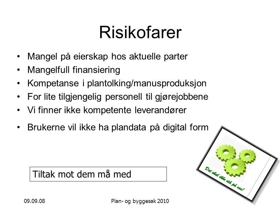 09.09.08Plan- og byggesak 2010 Risikofarer Mangel på eierskap hos aktuelle parter Mangelfull finansiering Kompetanse i plantolking/manusproduksjon For