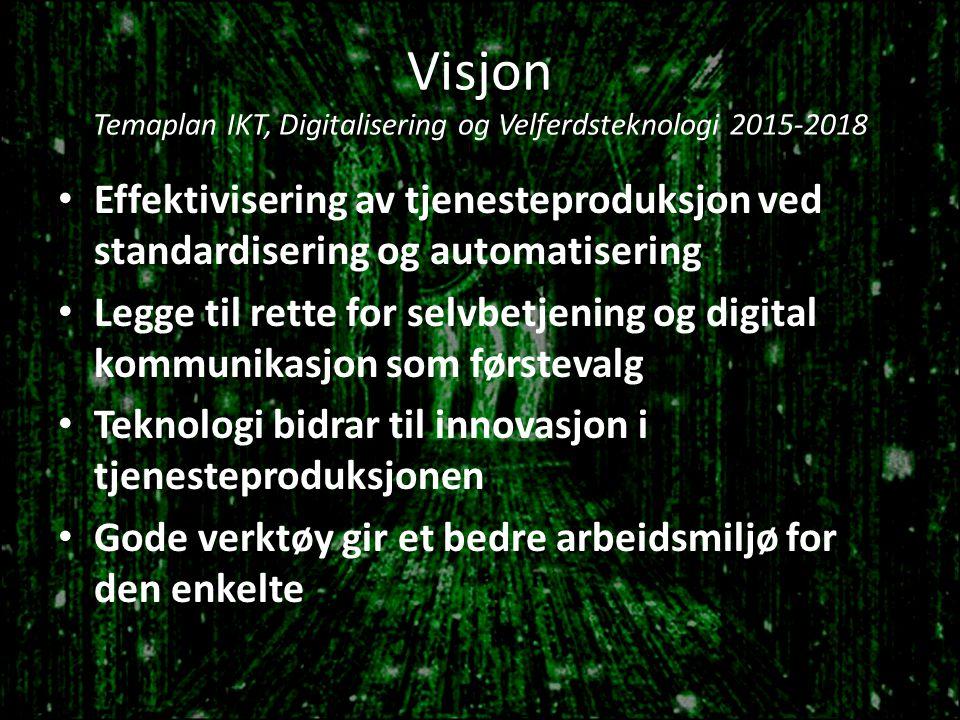 Visjon Temaplan IKT, Digitalisering og Velferdsteknologi 2015-2018 Effektivisering av tjenesteproduksjon ved standardisering og automatisering Legge til rette for selvbetjening og digital kommunikasjon som førstevalg Teknologi bidrar til innovasjon i tjenesteproduksjonen Gode verktøy gir et bedre arbeidsmiljø for den enkelte