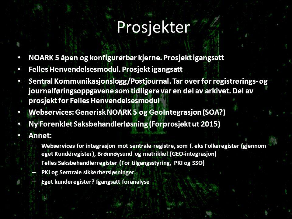 Prosjekter NOARK 5 åpen og konfigurerbar kjerne. Prosjekt igangsatt Felles Henvendelsesmodul. Prosjekt igangsatt Sentral Kommunikasjonslogg/Postjourna