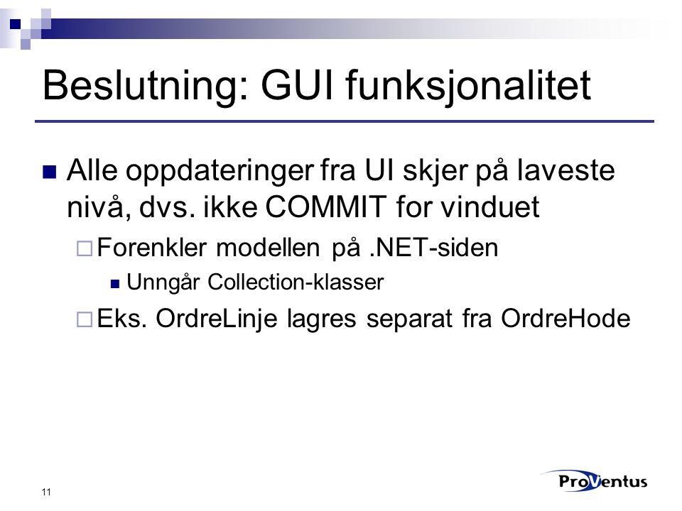 11 Beslutning: GUI funksjonalitet Alle oppdateringer fra UI skjer på laveste nivå, dvs.