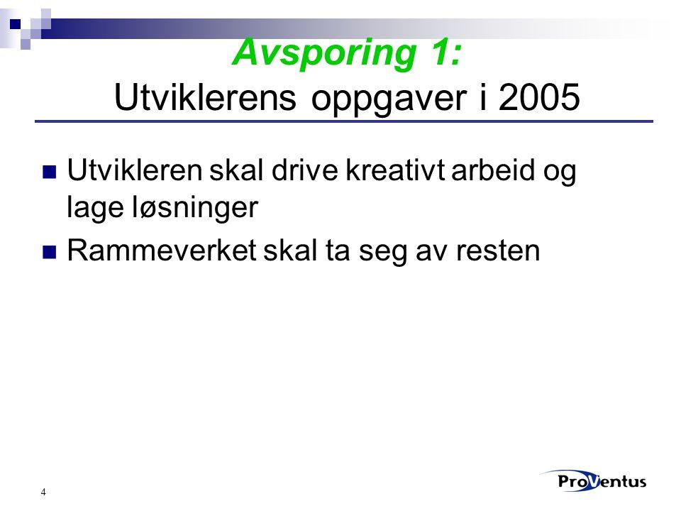 4 Avsporing 1: Utviklerens oppgaver i 2005 Utvikleren skal drive kreativt arbeid og lage løsninger Rammeverket skal ta seg av resten