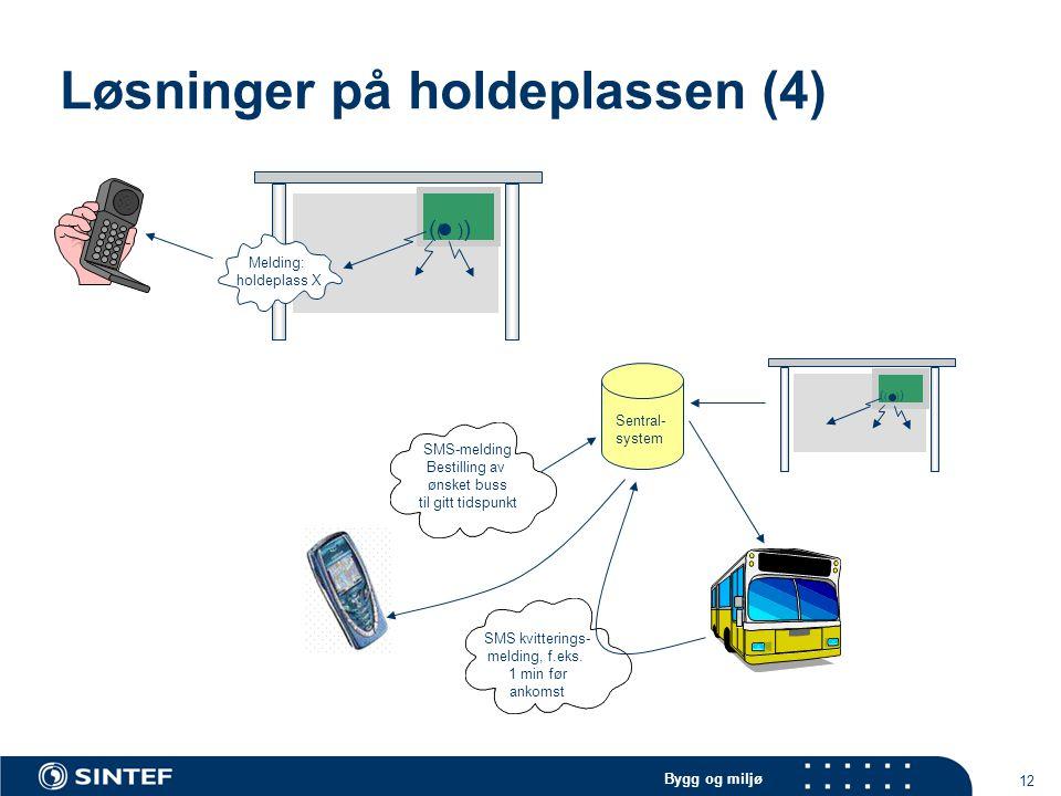 Bygg og miljø 12 Løsninger på holdeplassen (4) ( ( ) ) Melding: holdeplass X SMS-melding Bestilling av ønsket buss til gitt tidspunkt SMS kvitterings- melding, f.eks.