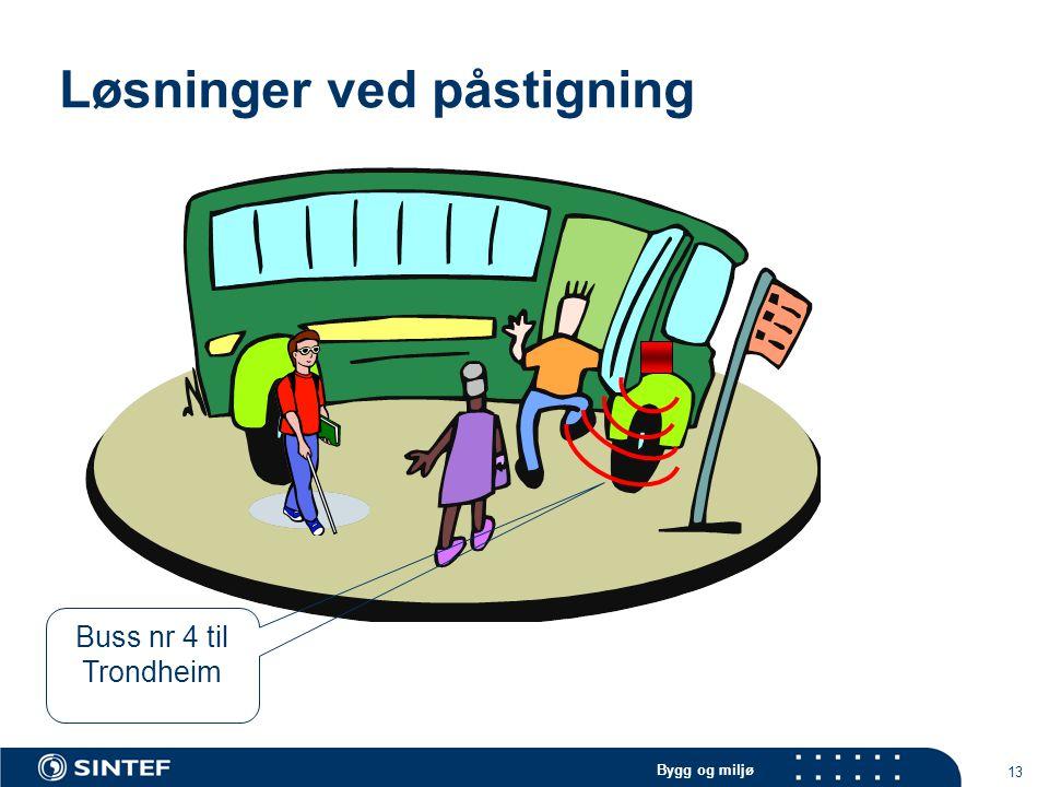 Bygg og miljø 13 Løsninger ved påstigning Buss nr 4 til Trondheim