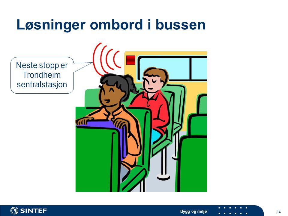 Bygg og miljø 14 Løsninger ombord i bussen Neste stopp er Trondheim sentralstasjon
