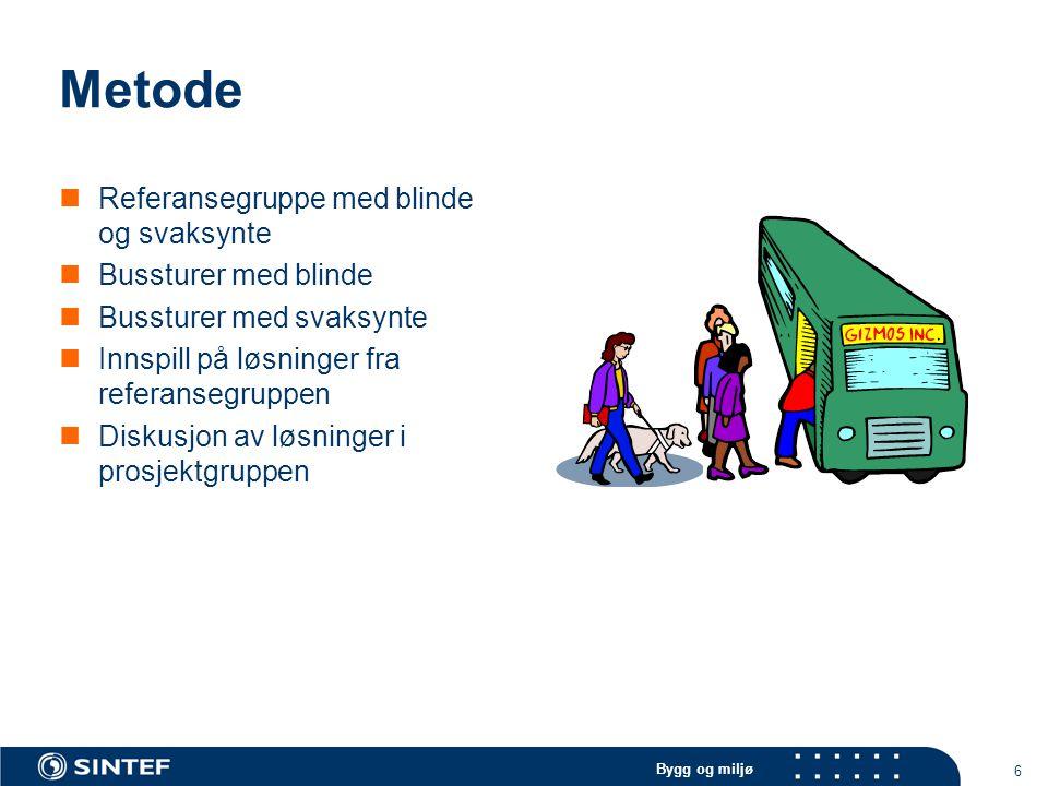 Bygg og miljø 6 Metode Referansegruppe med blinde og svaksynte Bussturer med blinde Bussturer med svaksynte Innspill på løsninger fra referansegruppen Diskusjon av løsninger i prosjektgruppen