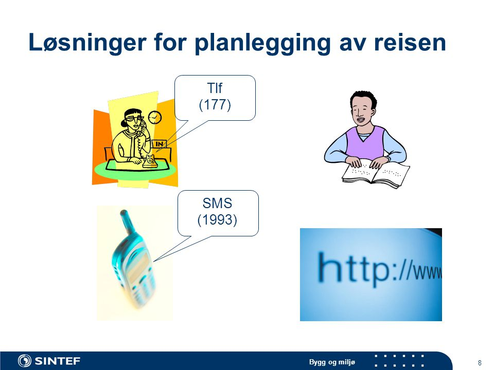 Bygg og miljø 8 Løsninger for planlegging av reisen SMS (1993) Tlf (177)