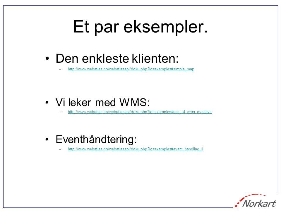 Et par eksempler. Den enkleste klienten: –http://www.webatlas.no/webatlasapi/doku.php?id=examples#simple_maphttp://www.webatlas.no/webatlasapi/doku.ph