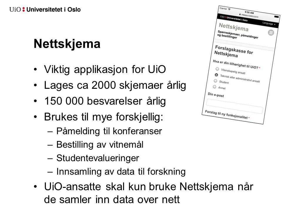 Nettskjema Viktig applikasjon for UiO Lages ca 2000 skjemaer årlig 150 000 besvarelser årlig Brukes til mye forskjellig: –Påmelding til konferanser –B