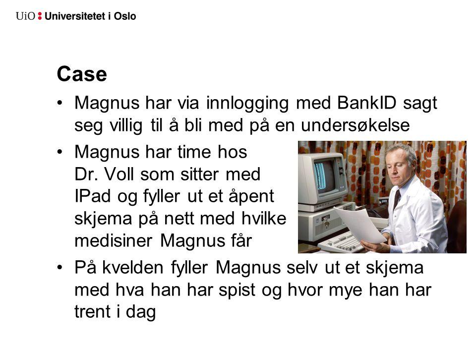 Case Magnus har via innlogging med BankID sagt seg villig til å bli med på en undersøkelse Magnus har time hos Dr. Voll som sitter med IPad og fyller