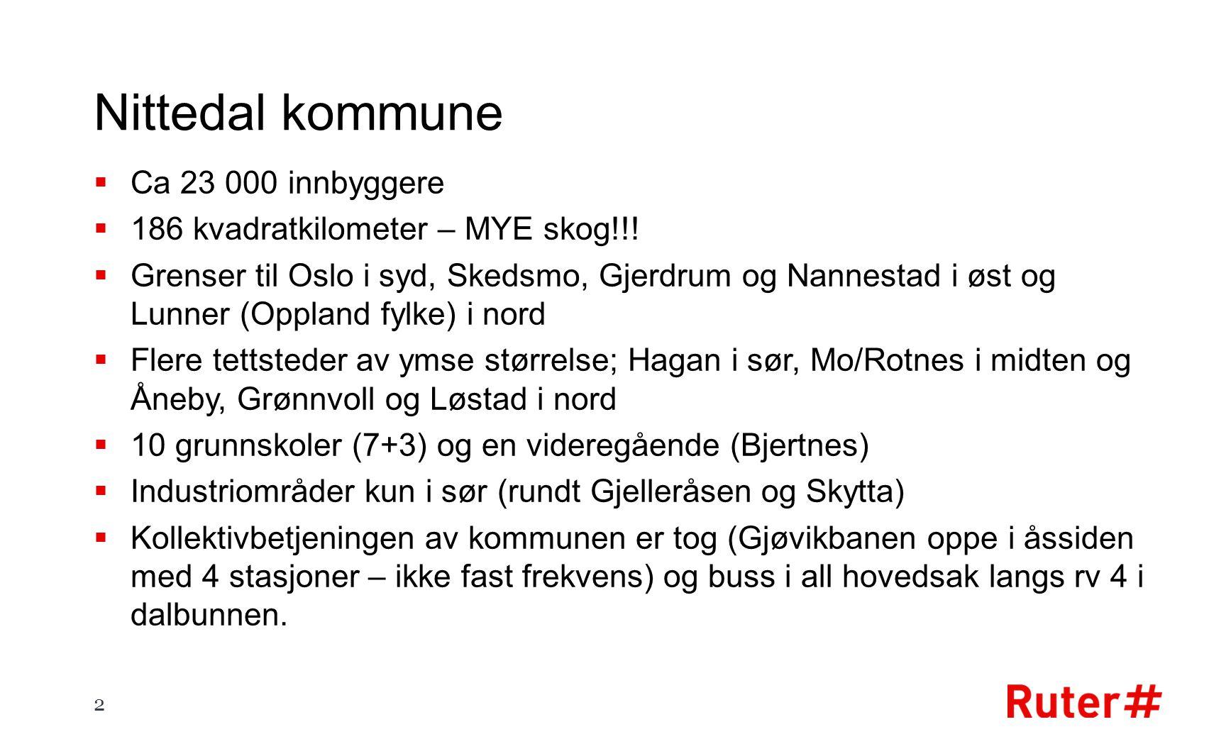 Nittedal kommune  Ca 23 000 innbyggere  186 kvadratkilometer – MYE skog!!.