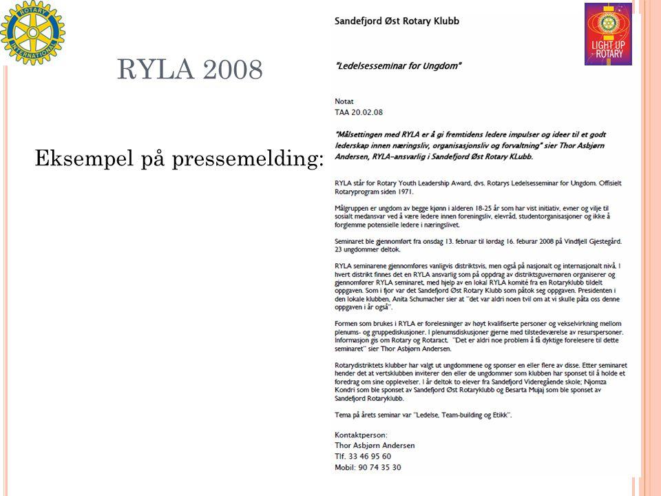 RYLA 2008 Eksempel på pressemelding: