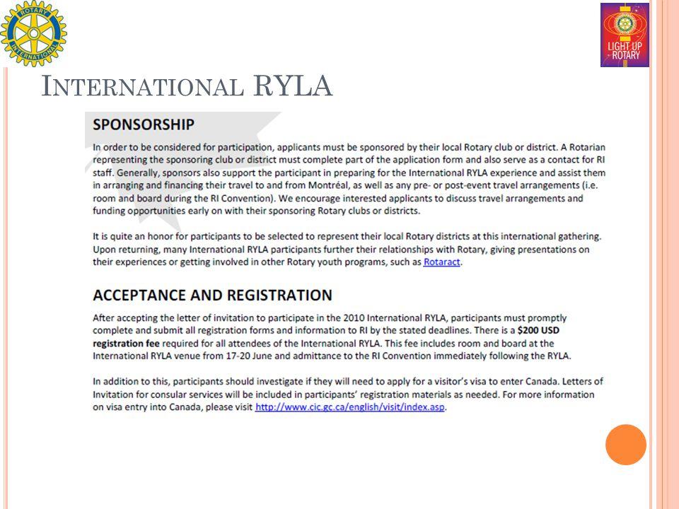 I NTERNATIONAL RYLA