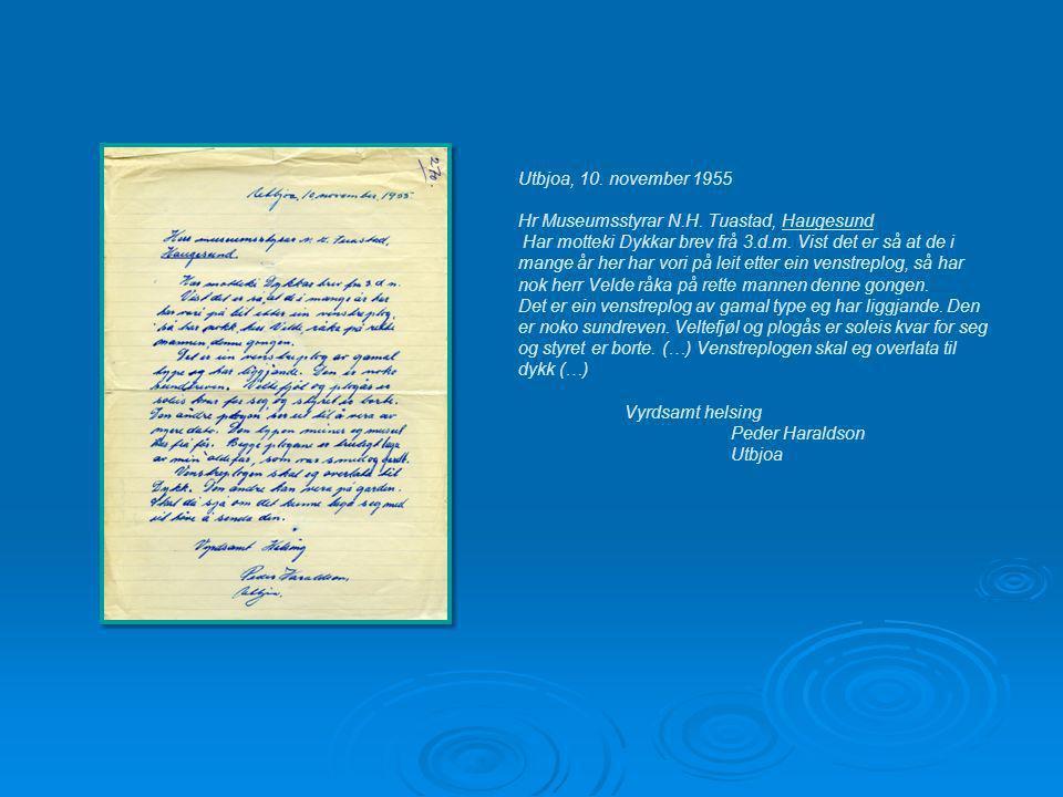 Utbjoa, 10. november 1955 Hr Museumsstyrar N.H.
