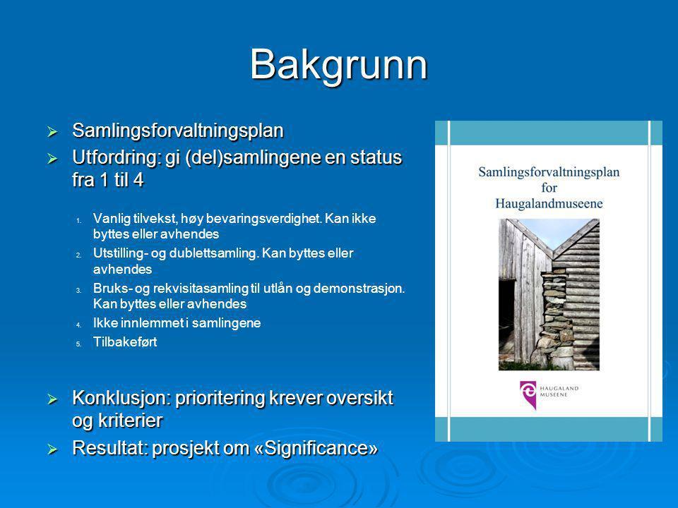 Bakgrunn  Samlingsforvaltningsplan  Utfordring: gi (del)samlingene en status fra 1 til 4 1.