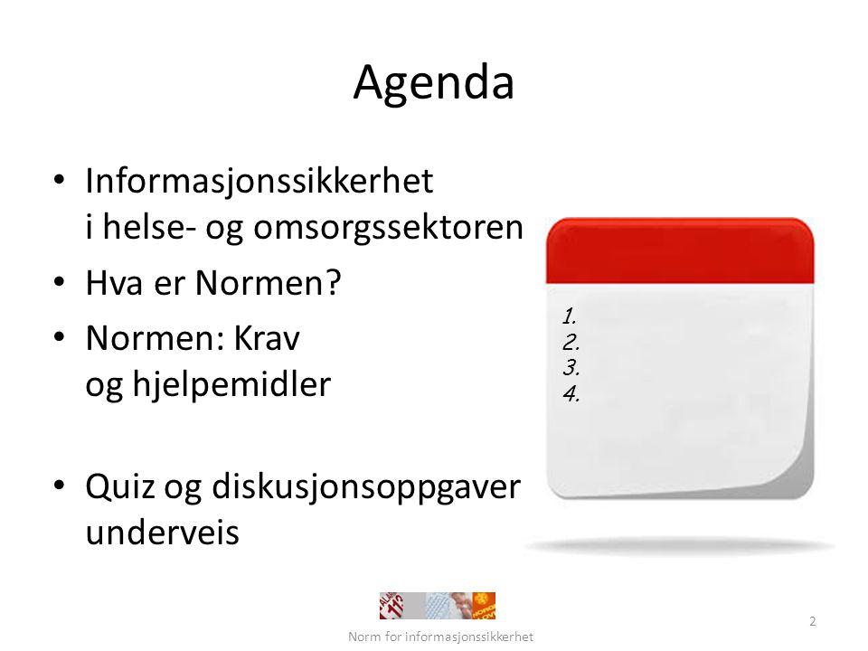 Nasjonale innsatsområder for e-helse Styrings- og kunnskaps- grunnlag Innbygger- tjenester Helsepersonell- tjenester IKT-infrastruktur og felleskomponenter Styring, koordinering og prioritering Personvern og informasjonssikkerhet Standarder, terminologi og kodeverk Forskning, innovasjon og kompetanse Én innbygger – én journal Norm for informasjonssikkerhet 3