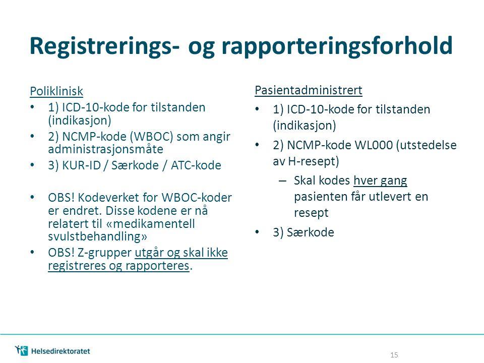 Registrerings- og rapporteringsforhold Poliklinisk 1) ICD-10-kode for tilstanden (indikasjon) 2) NCMP-kode (WBOC) som angir administrasjonsmåte 3) KUR