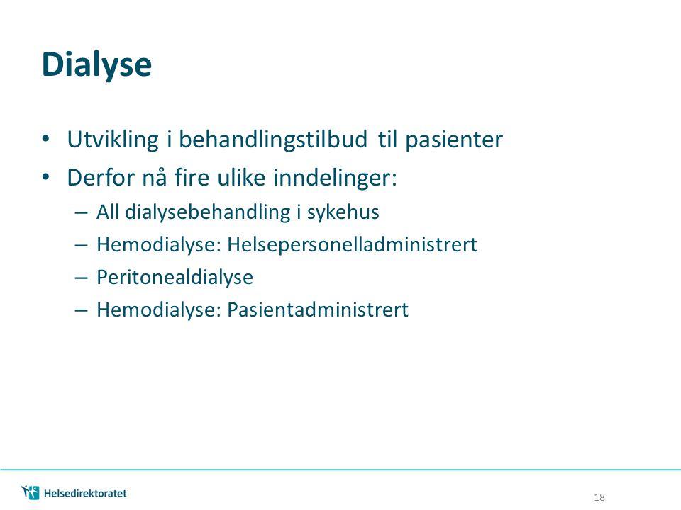 Dialyse Utvikling i behandlingstilbud til pasienter Derfor nå fire ulike inndelinger: – All dialysebehandling i sykehus – Hemodialyse: Helsepersonella