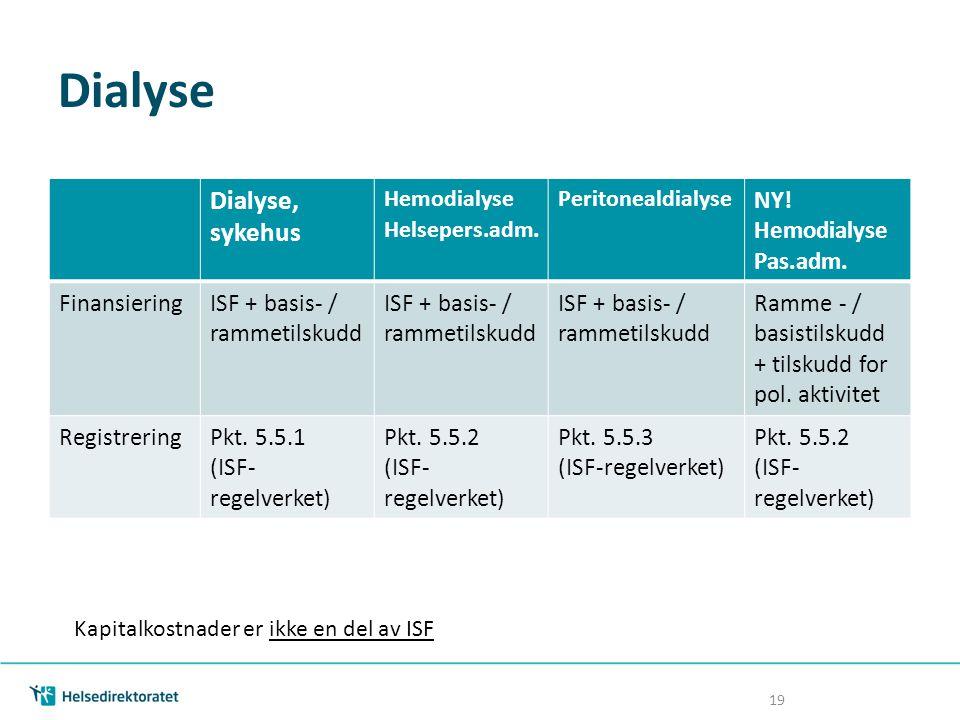 Dialyse 19 Dialyse, sykehus Hemodialyse Helsepers.adm. Peritonealdialyse NY! Hemodialyse Pas.adm. FinansieringISF + basis- / rammetilskudd Ramme - / b