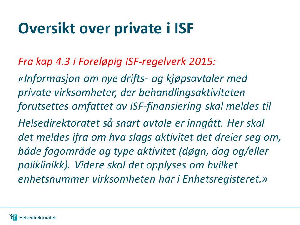 Oversikt over private i ISF Fra kap 4.3 i Foreløpig ISF-regelverk 2015: «Informasjon om nye drifts- og kjøpsavtaler med private virksomheter, der beha