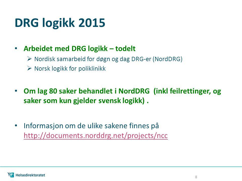 DRG logikk 2015 Arbeidet med DRG logikk – todelt  Nordisk samarbeid for døgn og dag DRG-er (NordDRG)  Norsk logikk for poliklinikk Om lag 80 saker b