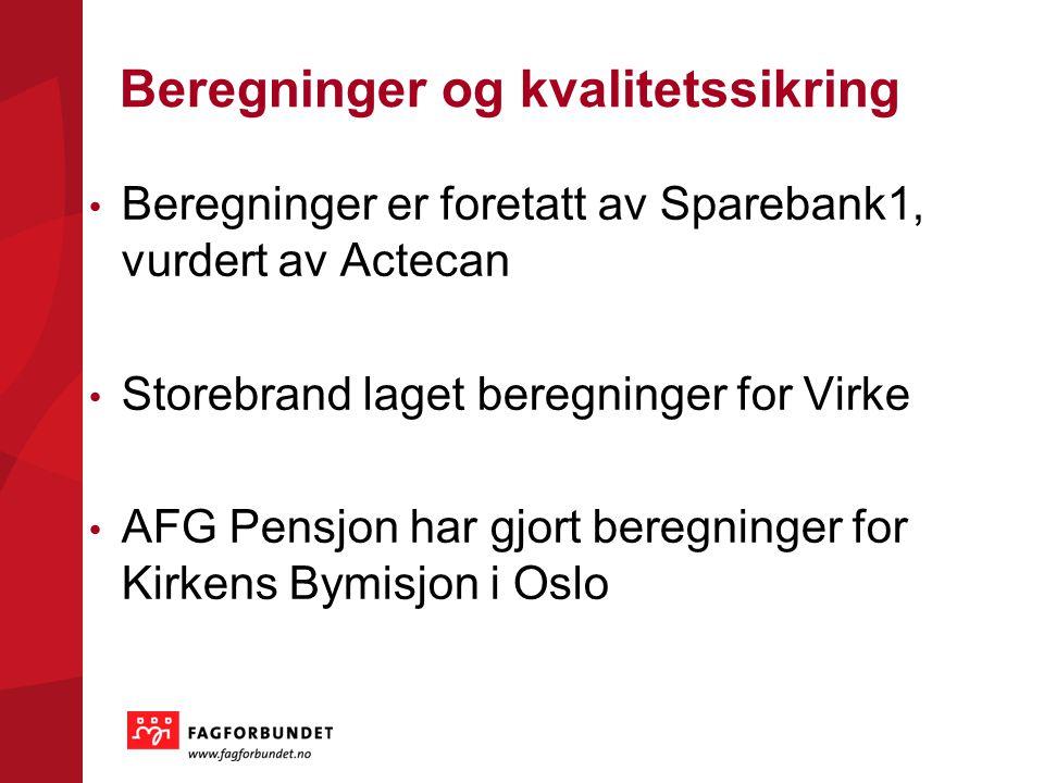 Beregninger og kvalitetssikring Beregninger er foretatt av Sparebank1, vurdert av Actecan Storebrand laget beregninger for Virke AFG Pensjon har gjort beregninger for Kirkens Bymisjon i Oslo