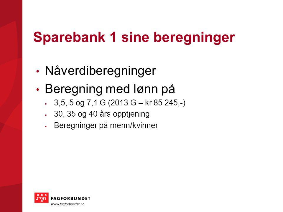 Sparebank 1 sine beregninger Nåverdiberegninger Beregning med lønn på  3,5, 5 og 7,1 G (2013 G – kr 85 245,-)  30, 35 og 40 års opptjening  Beregninger på menn/kvinner