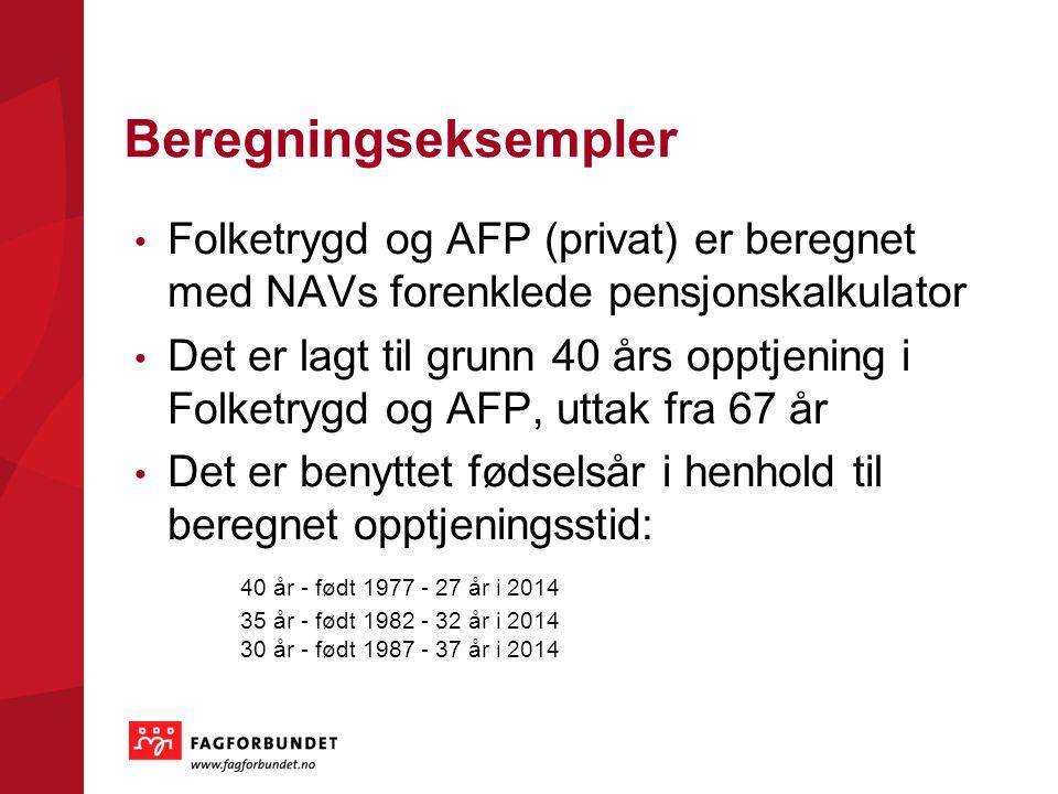 Beregningseksempler Folketrygd og AFP (privat) er beregnet med NAVs forenklede pensjonskalkulator Det er lagt til grunn 40 års opptjening i Folketrygd og AFP, uttak fra 67 år Det er benyttet fødselsår i henhold til beregnet opptjeningsstid: 40 år - født 1977 - 27 år i 2014 35 år - født 1982 - 32 år i 2014 30 år - født 1987 - 37 år i 2014
