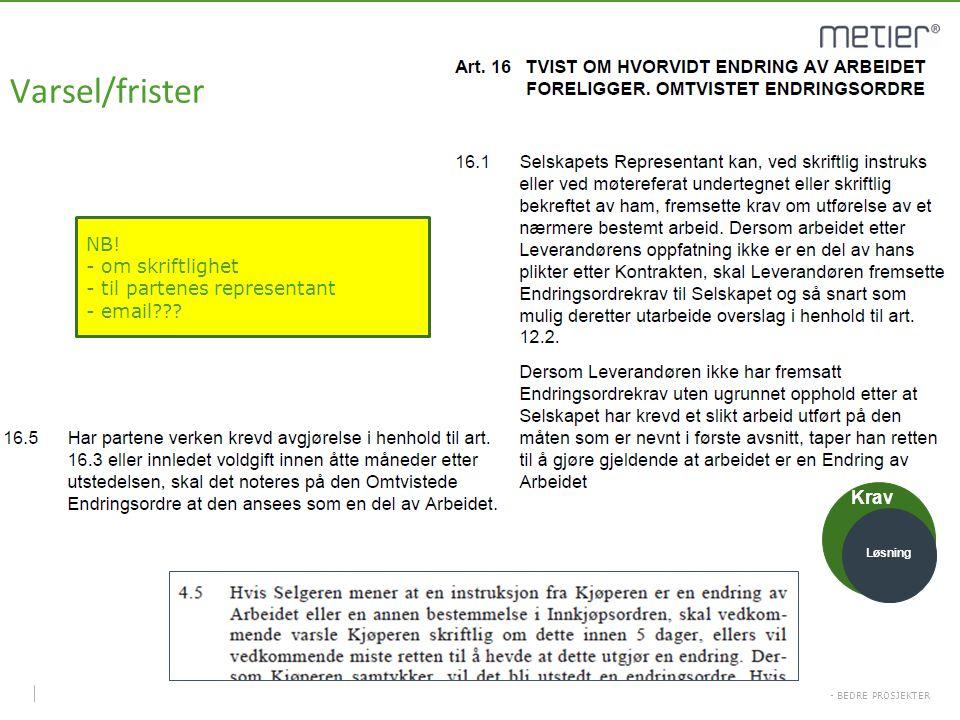- BEDRE PROSJEKTER Varsel/frister NB! - om skriftlighet - til partenes representant - email??? Krav Løsning