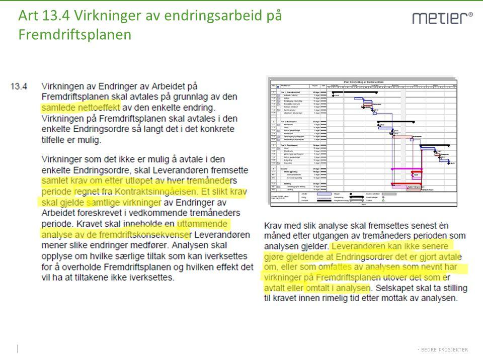 - BEDRE PROSJEKTER Art 13.4 Virkninger av endringsarbeid på Fremdriftsplanen