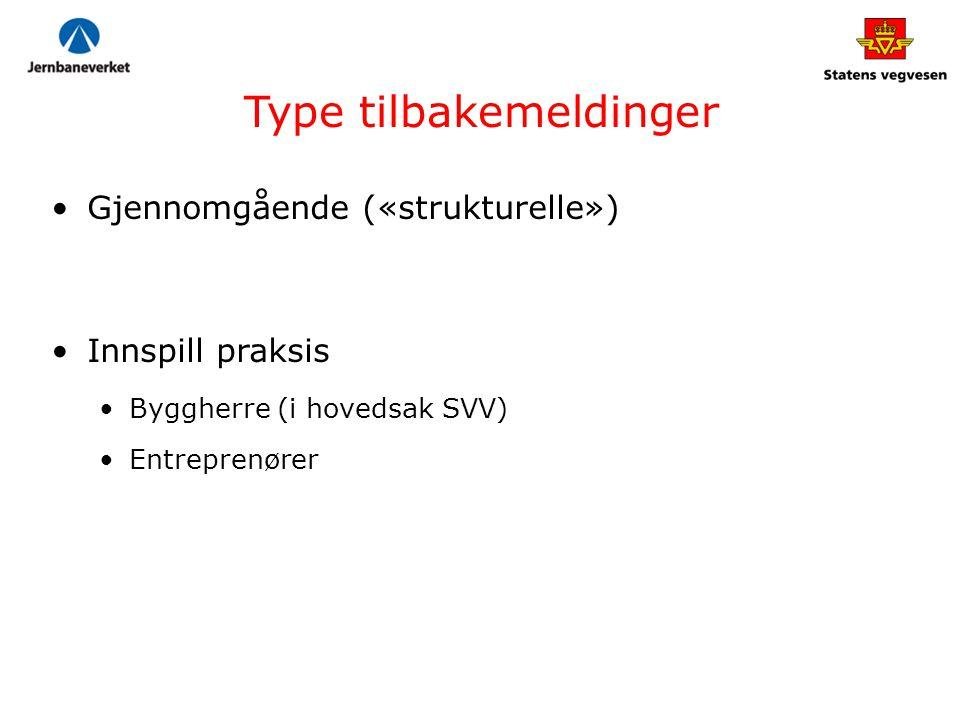 Type tilbakemeldinger Gjennomgående («strukturelle») Innspill praksis Byggherre (i hovedsak SVV) Entreprenører