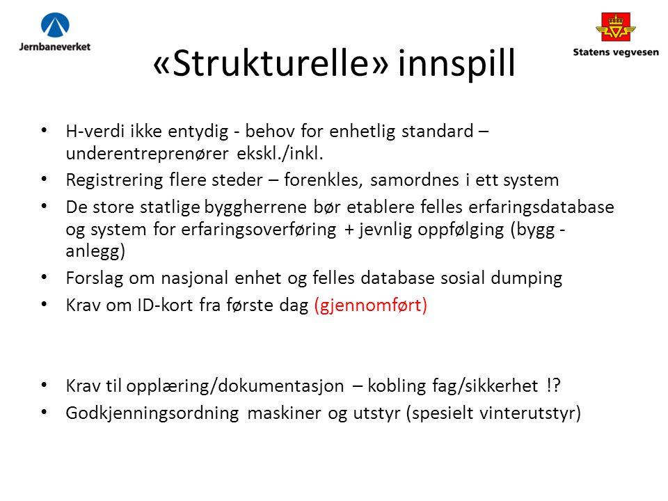«Strukturelle» innspill H-verdi ikke entydig - behov for enhetlig standard – underentreprenører ekskl./inkl.