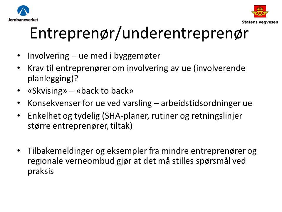 Entreprenør/underentreprenør Involvering – ue med i byggemøter Krav til entreprenører om involvering av ue (involverende planlegging).
