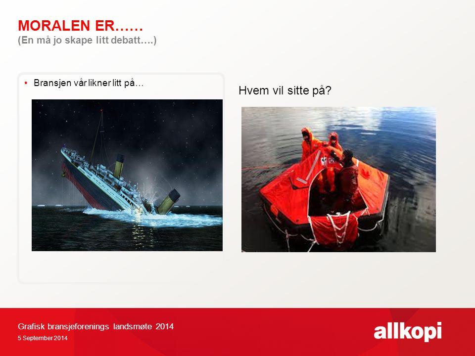 MORALEN ER…… 5 September 2014 Grafisk bransjeforenings landsmøte 2014 Bransjen vår likner litt på… (En må jo skape litt debatt….) Hvem vil sitte på