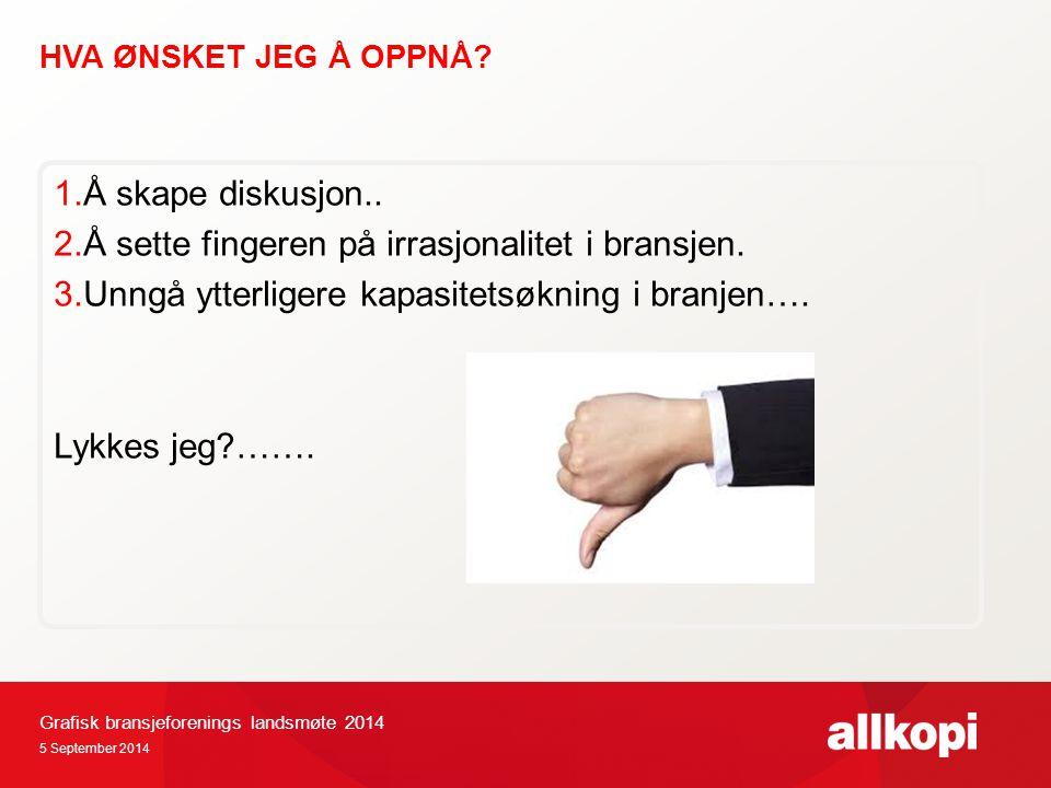 HVA ØNSKET JEG Å OPPNÅ. 5 September 2014 1.Å skape diskusjon..