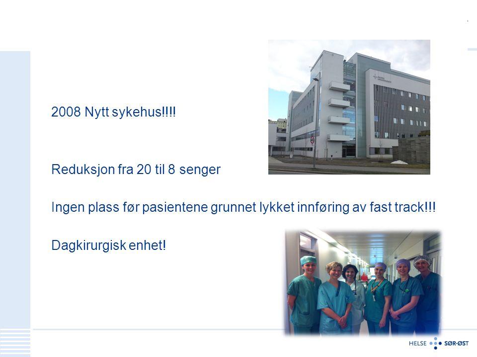 2008 Nytt sykehus!!!! Reduksjon fra 20 til 8 senger Ingen plass før pasientene grunnet lykket innføring av fast track!!! Dagkirurgisk enhet!