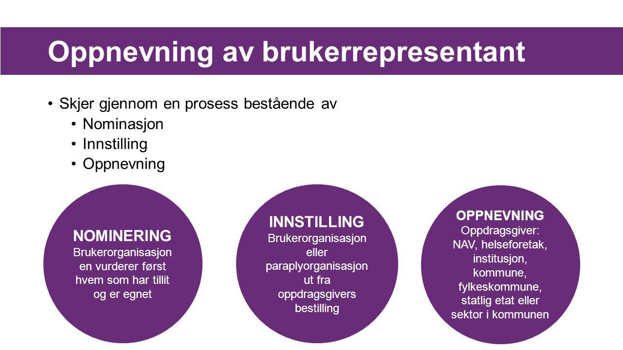 Oppnevning av brukerrepresentant Skjer gjennom en prosess bestående av Nominasjon Innstilling Oppnevning NOMINERING Brukerorganisasjon en vurderer før